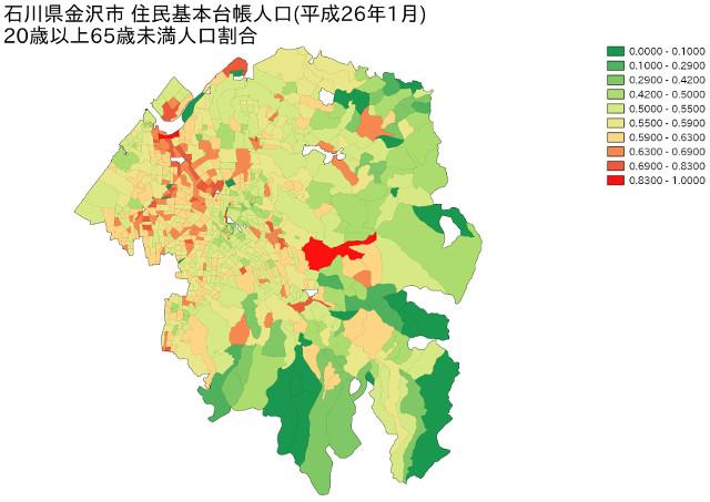 石川県金沢市 住民基本台帳人口(平成26年1月)20歳以上65歳未満人口割合