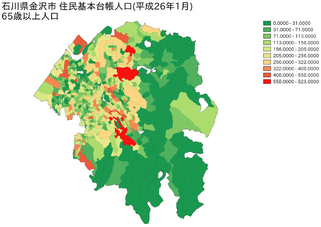 石川県金沢市 住民基本台帳人口(平成26年1月)65歳以上人口