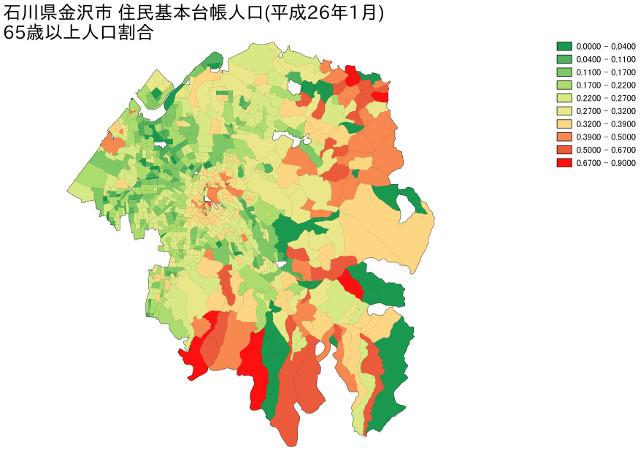 石川県金沢市 住民基本台帳人口(平成26年1月)65歳以上人口割合