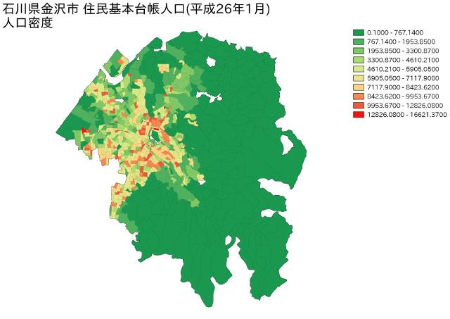 石川県金沢市 住民基本台帳人口(平成26年1月)人口密度