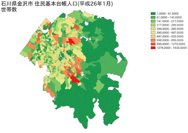 石川県金沢市 住民基本台帳人口(平成26年1月)世帯数