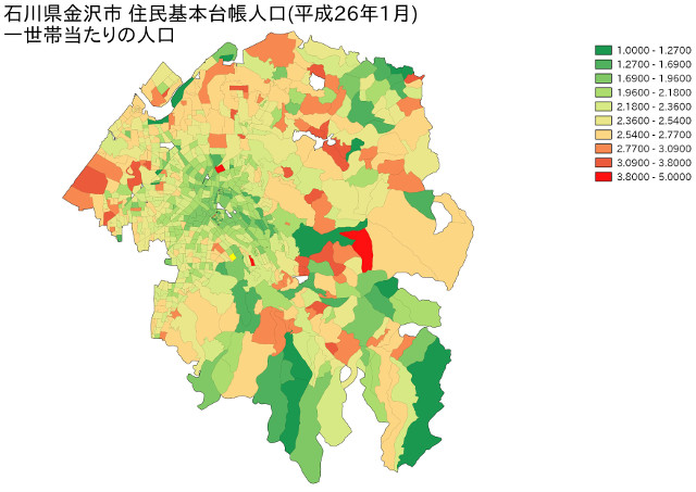 石川県金沢市 住民基本台帳人口(平成26年1月)一世帯当たりの人口