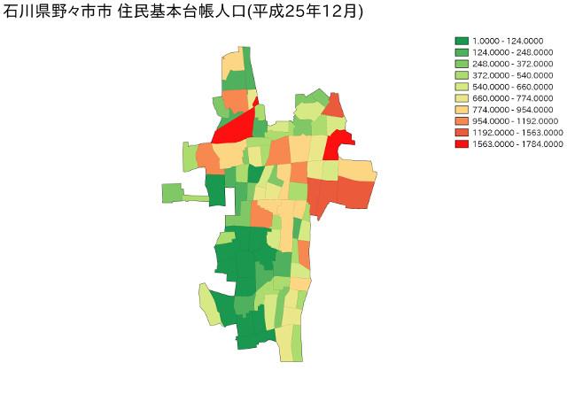 石川県野々市市住民基本台帳人口(平成25年12月)