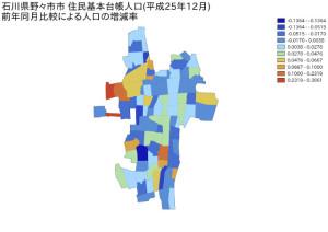 石川県野々市市住民基本台帳人口(平成25年12月)前年同月比較による人口の増減率