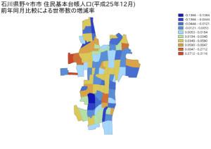 石川県野々市市住民基本台帳人口(平成25年12月)前年同月比較による世帯数の増減率
